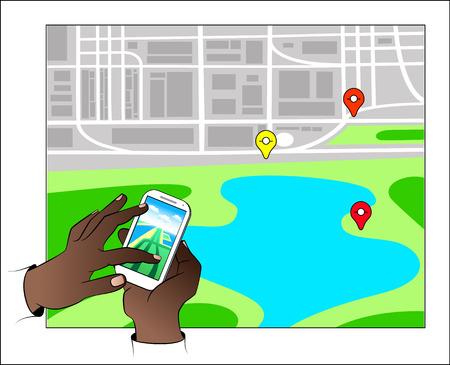 Hands holding Mobile with Gps Navigation and map with icon. Mobile gps navigation concept vector illustration. Illustration