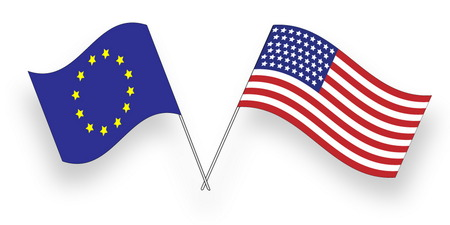 european culture: Flags of USA and European Union, Alliance