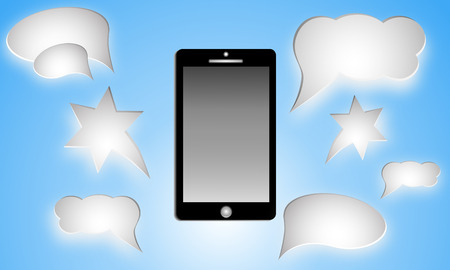text messaging: Black smartphone with blank speech bubbles for text. Text messaging flat design concept. Illustration