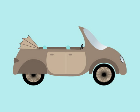 cabriolet: Funny vintage cabriolet car Illustration
