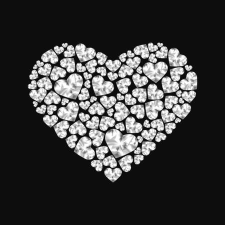 ruby: Heart of shiny diamonds on black background