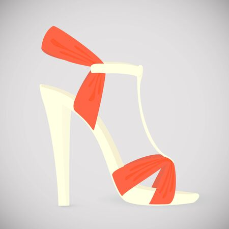 Bright female sandals with high heels