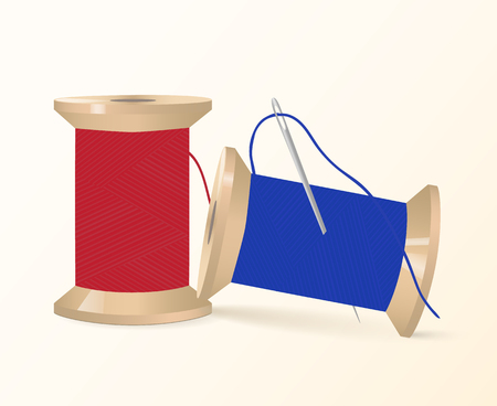 Two spools of thread with a needle. Vector illustration. Illustration