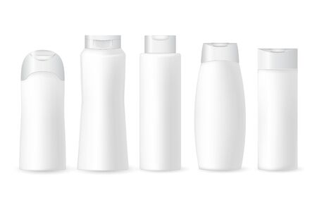 Collection of realistic white cosmetic plastic bottles on a white background.Cosmetic brand pattern. Design Beauty Products. Vector illustration.