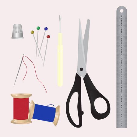 Set of sewing tools. A collection of objects for needlework and handmade. The needle, pins, thread, thimble, seam ripper tool, scissors, metal ruler. Illustration
