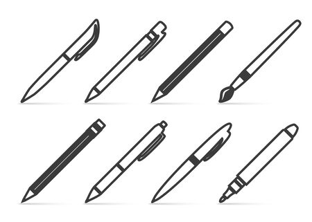 Collection of vector icons for drawing in the style of linear design