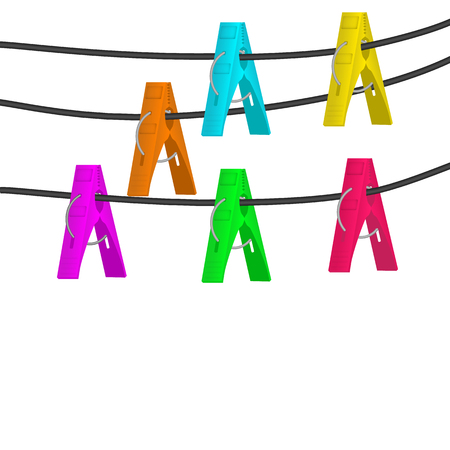 Colorful clothes pegs hanging on the rope collection. Vector illustration. Иллюстрация