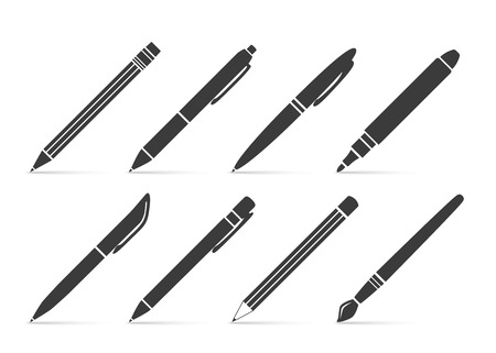 pen and marker: Collection of vector icons for writing and artistic tools: pen, pencil, marker, paintbrush