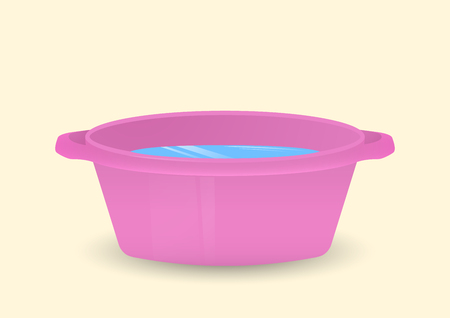 A bowl of water. Isolated Vector Illustration.