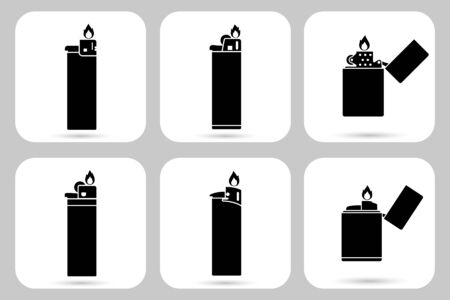 Lighter with fire icon in style of flat design. Vector set.