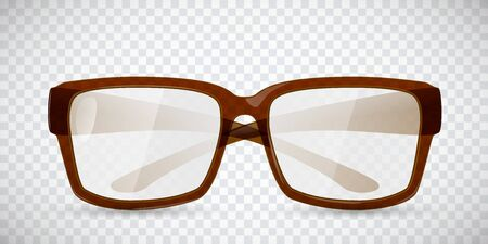 eyewear: Transparent brown glasses. Realistic vector illustration.