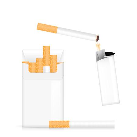 Un briquet de poche, une cigarette et un paquet de cigarettes. Banque d'images - 79250275