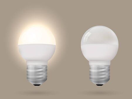 Energy-saving lighted and switched off light bulb. Vector illustration. Ilustração