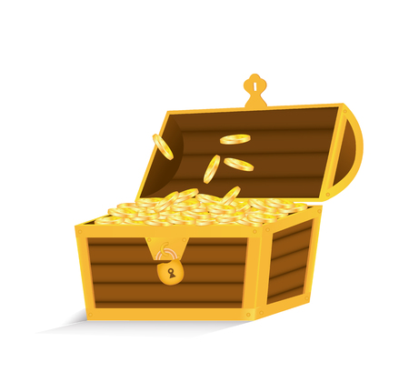 Open chest with gold coins, isolated on white background. Vector illustration. Illustration