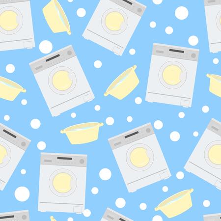 Wasmachine en bekken met water op een blauwe achtergrond. Naadloos patroon. Stockfoto - 79725779