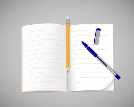 펜 및 연필 전자 필기장 열기입니다. 벡터 일러스트 레이 션