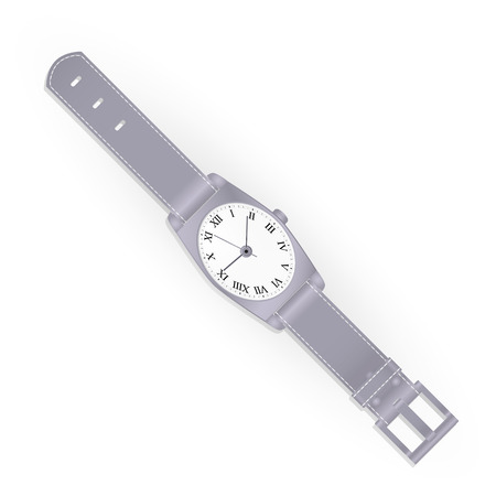 Realistic wristwatch isolated on white background. Vector illustration.
