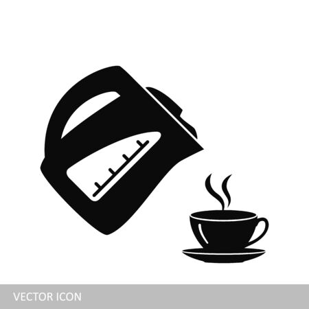 Electric kettle and cup vector icon Ilustrace