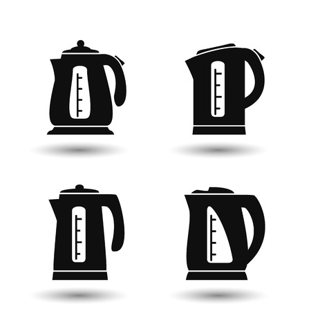 Electric kettle. Set of vector teapot icons.