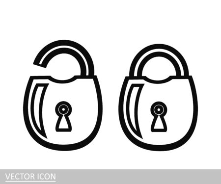 Open and closed lock. Vector icon in a line design style.