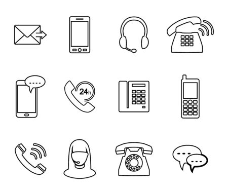 Phone icon. Set of vector icons in the style of linear design.