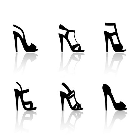 Women's high-heeled sandals. Set of vector icons in the style of a flat design.