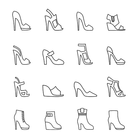 Women's shoes. Set of vector icons in the style of linear design. Vektorové ilustrace