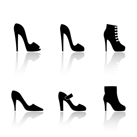 Women's high-heeled shoes. Set of vector icons in the style of a flat design. Vektorové ilustrace