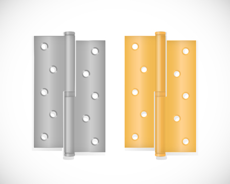 Door Hinge in two colors, isolated on white background. Realistic vector illustration.