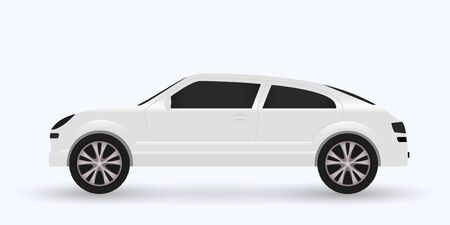 White sports car isolated on white background. Vector illustration. Иллюстрация