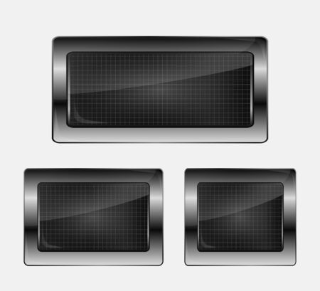 black metallic background: Set of three metal banners. Vector illustration. Illustration