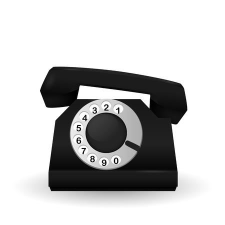 Black classic vintage phone. Vector illustration.