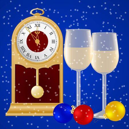 Pendulum clocks glasses of champagne and Christmas balls