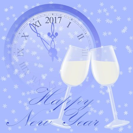 Happy New Year with clock and glasses and champagne Illustration