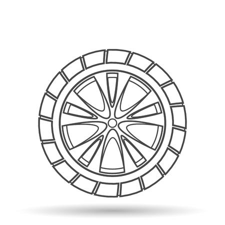 rim: Car wheel. Vector icon in a line design style.