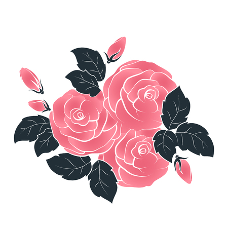 Vector roses, bouquet isolated on white background. Vector illustration.