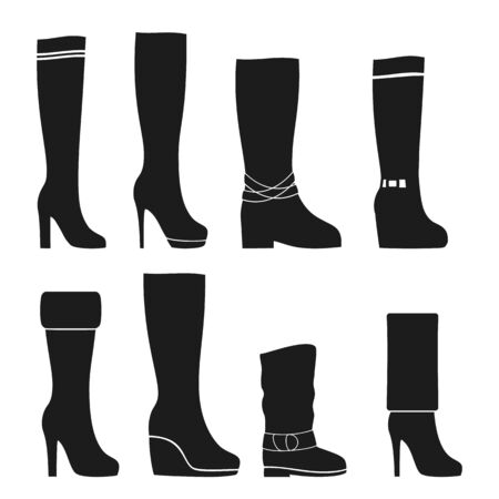 Boots female vector icon. Set of icons in the style of flat design 矢量图像