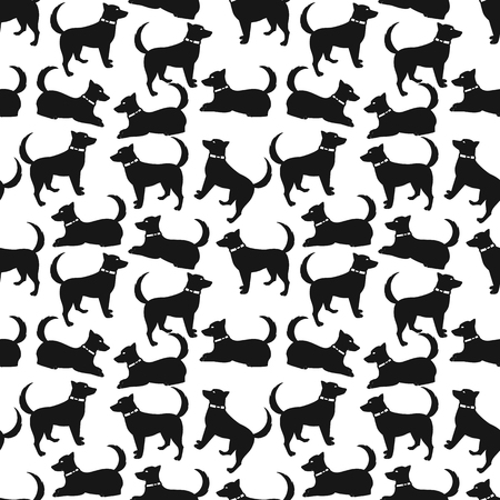 Silhouette of a dog on a white background. Seamless pattern.