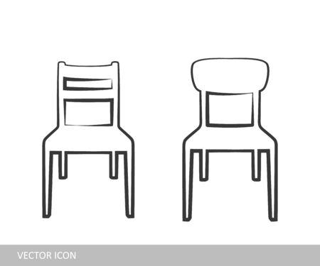 Icono de la silla. Un conjunto de iconos de la silla en el estilo de diseño lineal. Foto de archivo - 89787188