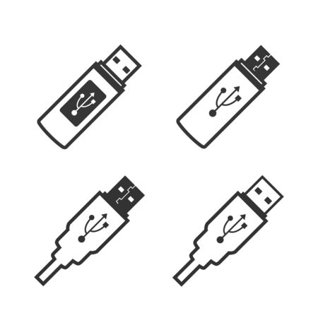 usb flash drive icon. set of icons on white background