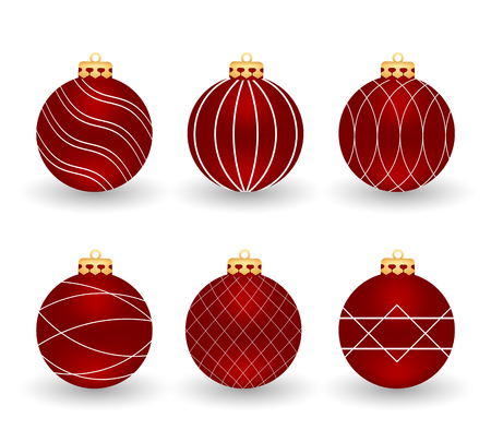 Set of red christmas balls, isolated on white background. Element for your design. Stock Vector - 89844540