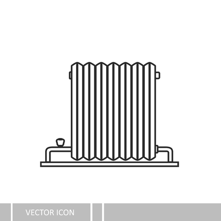 Retro battery heating. Vector icons on a white background. Ilustracja
