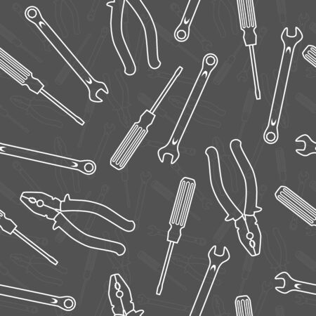 Pliers, wrench and screwdriver, silhouette on a dark background. Seamless vector pattern.