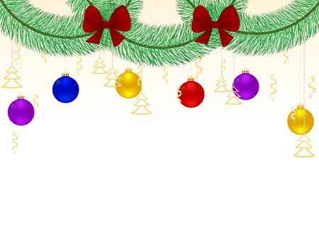 赤の弓とハンギングのモミの枝の花輪。ホリデー グリーティング カード、カレンダー、バナー、ポスター、招待状のデザイン。明けましておめでと