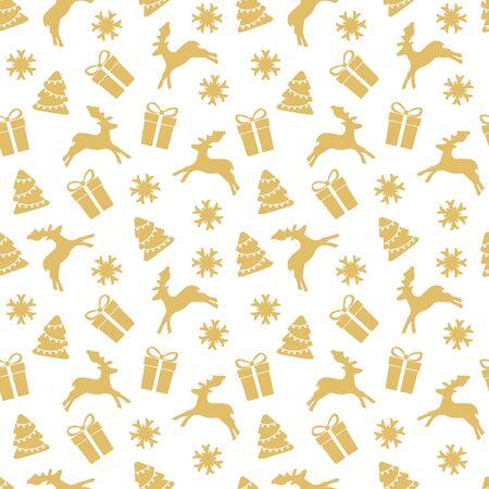 クリスマスの背景。クリスマス ツリー、鹿のギフトとのシームレスなパターン。  イラスト・ベクター素材