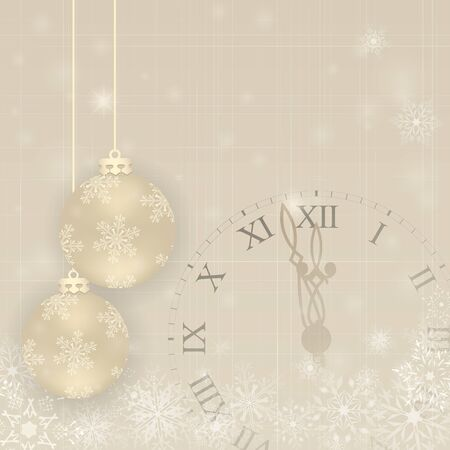 Background with christmas balls and clock. Greeting card or invitation. Happy New Year. Element for design.