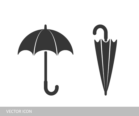 Umbrella icon. A set of open and closed umbrella icons in the style of flat design.