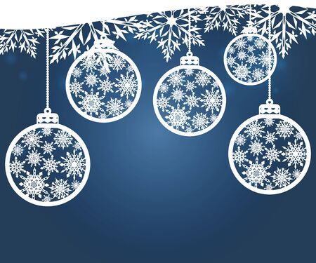 Hanging Christmas balls with a snowflake. Vector illustration. Merry Christmas and a happy new year. Elegant background for christmas design.