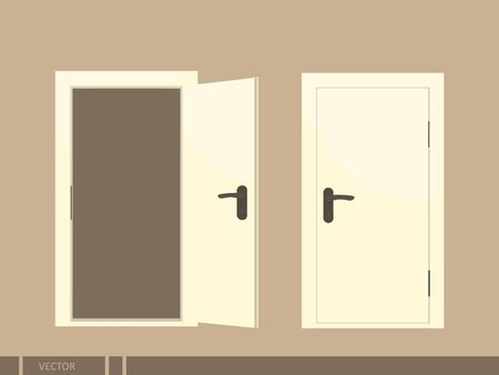 Open and closed doors. Isolated vector illustration.