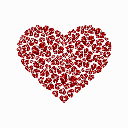 Heart of shiny diamonds. Vector illustration isolated on white background.